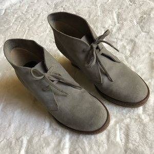 J Crew gray leather wedges booties size 7
